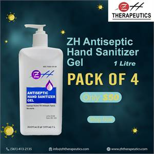 1L ZH Antiseptic Hand Sanitizer Gel – (Pack of 4)