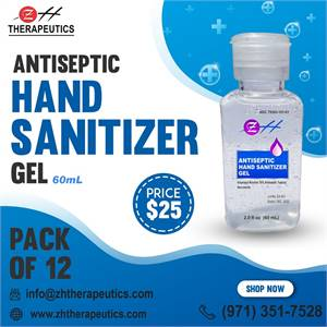 60 ml ZH Antiseptic Hand Sanitizer Gel – (Pack of 12) - ZH Therapeutics